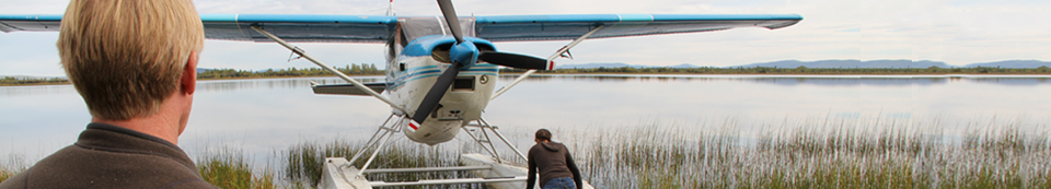 float plane being positioned for takeoff